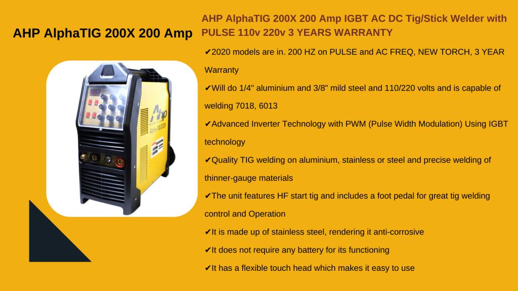 2. AHP ALPHA TIG 200X - Best Budget TIG Welder