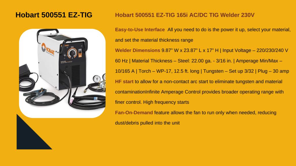 4. HOBART EZ-TIG 165I AC/DC  – Best TIG Welder for Beginner